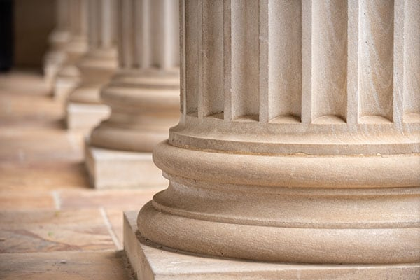 A close up of the Gorgas Library pillars.