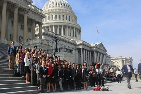 A group of social work students at the US Capitol
